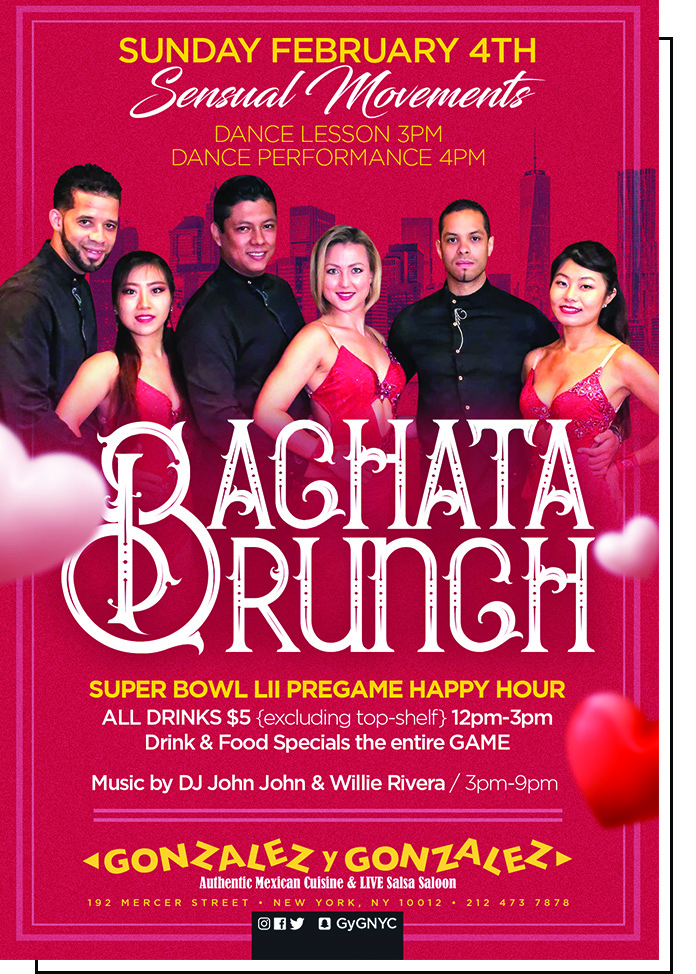 Photo of latin dance event Bachata Brunch happening on February 4, 2018 at Gonzalez y Gonzalez