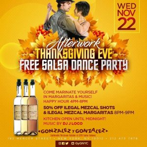 Photo of Afterwork Thanksgiving Eve Free Salsa Dance Party Poster